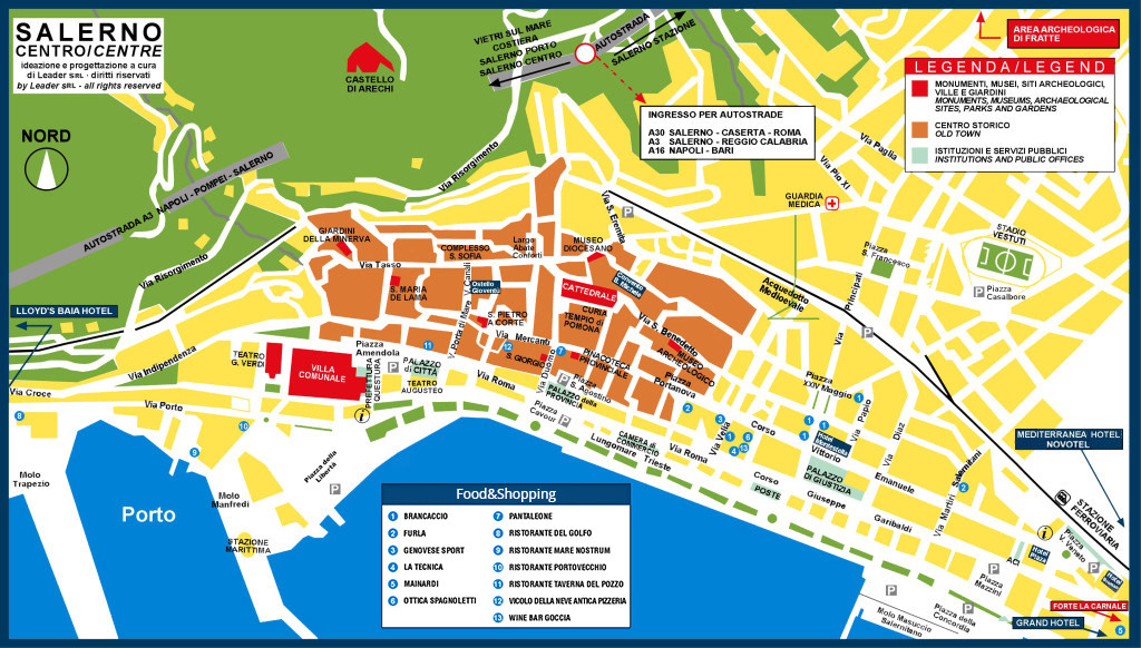 Map of Salerno city centre